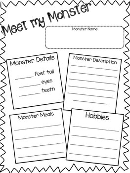 MONSTER craftivity and writing -Detail writhing great for Halloween!