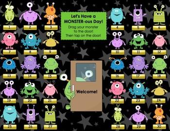 """MONSTER-ous Day"" (Monster, Alien, Space) SMART Board Attendance w/ SOUND"