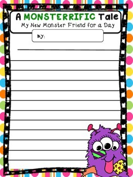 MONSTERRIFIC FREEBIE narrative and descriptive writing- My New Monster Friend