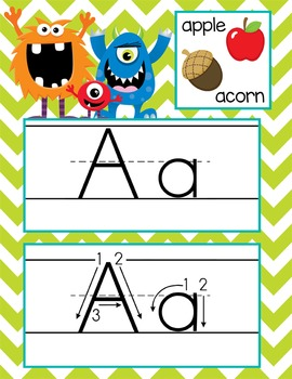 MONSTERS - Alphabet, Handwriting, Flash Cards, ABC print with pics