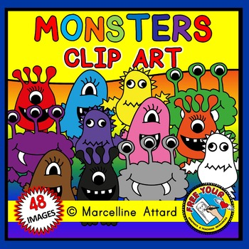 RAINBOW MONSTERS CLIPART: MONSTER THEME CLIPART BY FREE YOUR HEART GRAPHICS