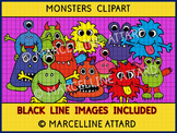 MONSTERS CLIPART: MONSTERS THEME CLIPART IN VARIOUS COLORS