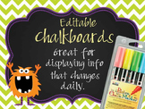 MONSTERS - Classroom Decor: editable chalkboard  POSTERS / Bistro Chalk Markers