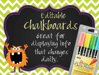 MONSTERS - Classroom Decor: editable chalkboard  POSTERS /