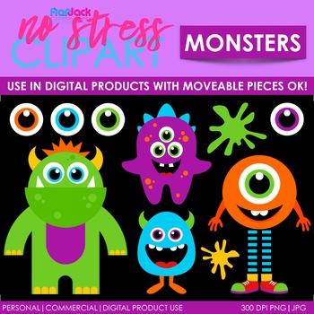 MONSTERS Clipart Plus Digital Papers BUNDLE
