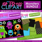 MONSTERS Clipart Plus Digital Papers BUNDLE