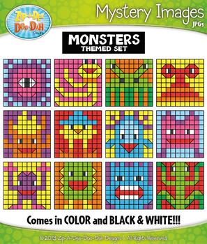 MONSTERS Mystery Images Clipart {Zip-A-Dee-Doo-Dah Designs}