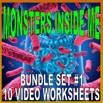MONSTERS INSIDE ME : BUNDLE 1 (Biology Video Worksheets / Sub Plans)