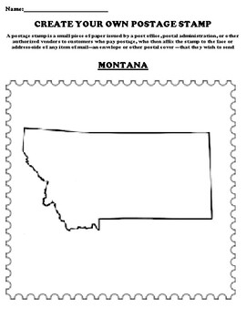 MONTANA Create your Own Postage Stamp Worksheet