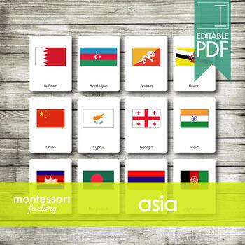ASIA Flags | Montessori Nomenclature Cards | Flash Cards | 3 Part Cards