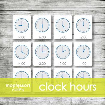CLOCK HOURS Time   Montessori Nomenclature Cards   Flash Cards   3 Part Cards