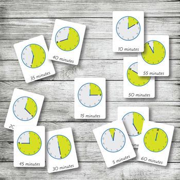 CLOCK MINUTES Time | Montessori Nomenclature - Flash - 3 Part Cards | PDF