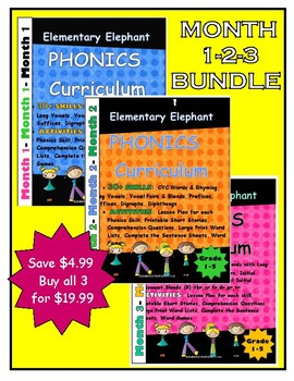 PHONICS-MONTH 1-2-3 Bundle!Elementary Elephant Curriculum-Special Ed./RTI/Interv