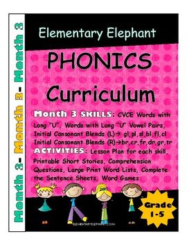 MONTH 3--Elementary Elephant PHONICS Curriculum-Intervention/Special Ed./RTI