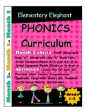 PHONICS-MONTH 3--Elementary Elephant Curriculum-Intervention/Special Ed./RTI