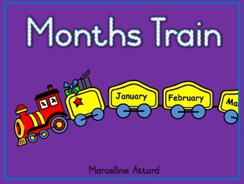 FREEBIE MONTHS TRAIN DISPLAY (flashcards) + GAME