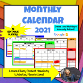 MONTHLY CALENDAR 2021  *EDITABLE! with Holidays and Stickers