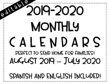 MONTHLY CALENDARS! AUGUST 2019-JULY 2020
