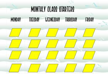 MONTHLY CLASS STARTER PLANNER