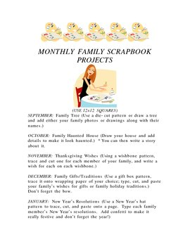 MONTHLY FAMILY SCRAPBOOK PROJECTS