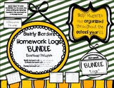 Homework Log BUNDLE (Swirly Borders) - includes 3 Resources