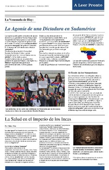 FREE MONTHLY INFORMATIVE NEWSPAPER IN SPANISH (Tabloid Size) 1st  EDITION