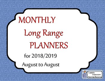 MONTHLY Long Range Planners 2018/2019