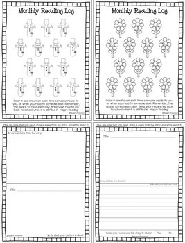 MONTHLY READING LOGS FOR HOME - parent letter & journal page