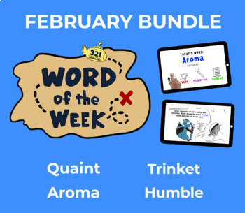 February Vocabulary Bundle: 4 Words (whiteboard animations, quizzes, activities)