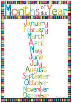 MONTHS OF THE YEAR watercolor theme display