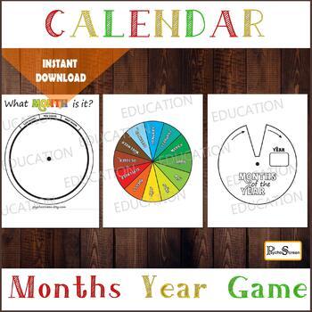 MONTHS WHEEL, Month Circle game, Months Spinner, Calendar for preschool Activity