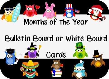 MONTHS of the YEAR~OWL THEME~ Whiteboard Calendar