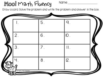 MOO! Math Fact Fluency Card Game | Addition and ...