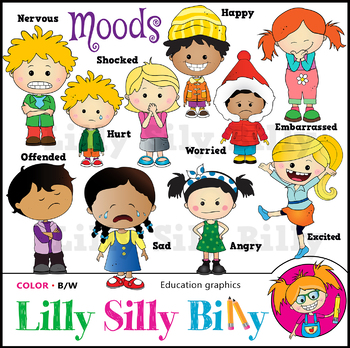 MOODS Clipart. BLACK AND WHITE & Color Bundle. {Lilly Silly Billy}