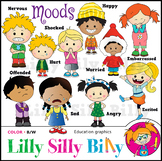 MOODS Clipart. BLACK AND WHITE & Color Bundle. {Lilly Sill