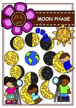 MOON PHASE Digital Clipart (color and black&white)