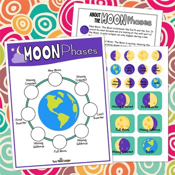 MOON PHASES ACTIVITY Printable Game, Educational Outer Space Worksheet Science