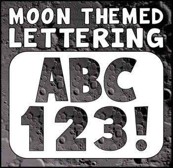 MOON THEMED LETTERS, NUMBERS AND PUNCTUATION - DISPLAY LETTERING SPACE