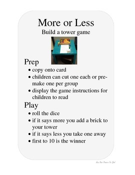 MORE AND LESS math early concepts build a tower game