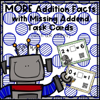 MORE Addition Facts with Missing Addend Task Cards