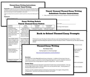 MORE Back to School Theme Essay Writing, w Rubrics & Printables