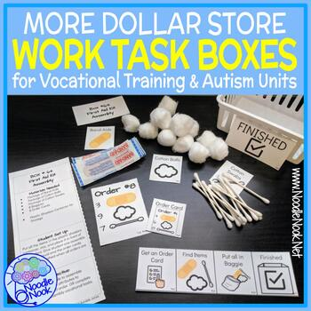 MORE Dollar Store Vocational Work Task Boxes- 21 MORE Activities with Visuals!
