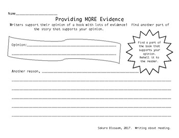 MORE Evidence Graphic Organizer