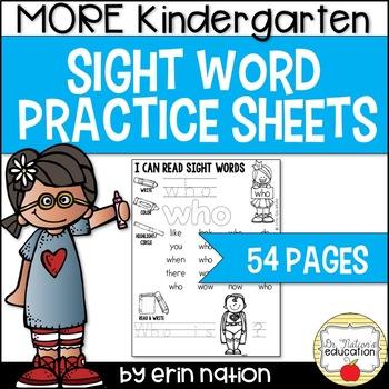 MORE Kindergarten Sight Word Practice Sheets