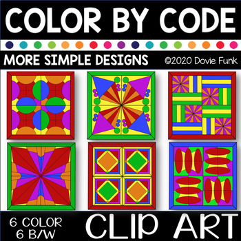 MORE SIMPLE DESIGNS Color by Code Clip Art