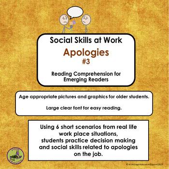 MORE SOCIAL SKILLS AT WORK:  Apologies Set 3