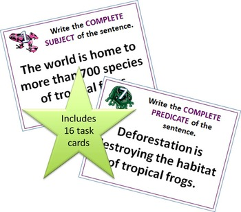 MORE Subject and Predicate Task Cards
