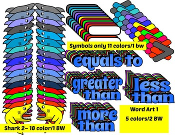 MORE THAN-GREATER THAN- LESS THAN - EQUALS CLIP ART  SEA LIFE STYLE (222 IMAGES)