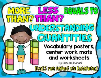 MORE THAN,LESS THAN,EQUALS TO; QUANTITIES-Worksheets, posters & centers