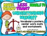 MORE THAN,LESS THAN,EQUALS TO; WEIGHT-Worksheets, posters & centers